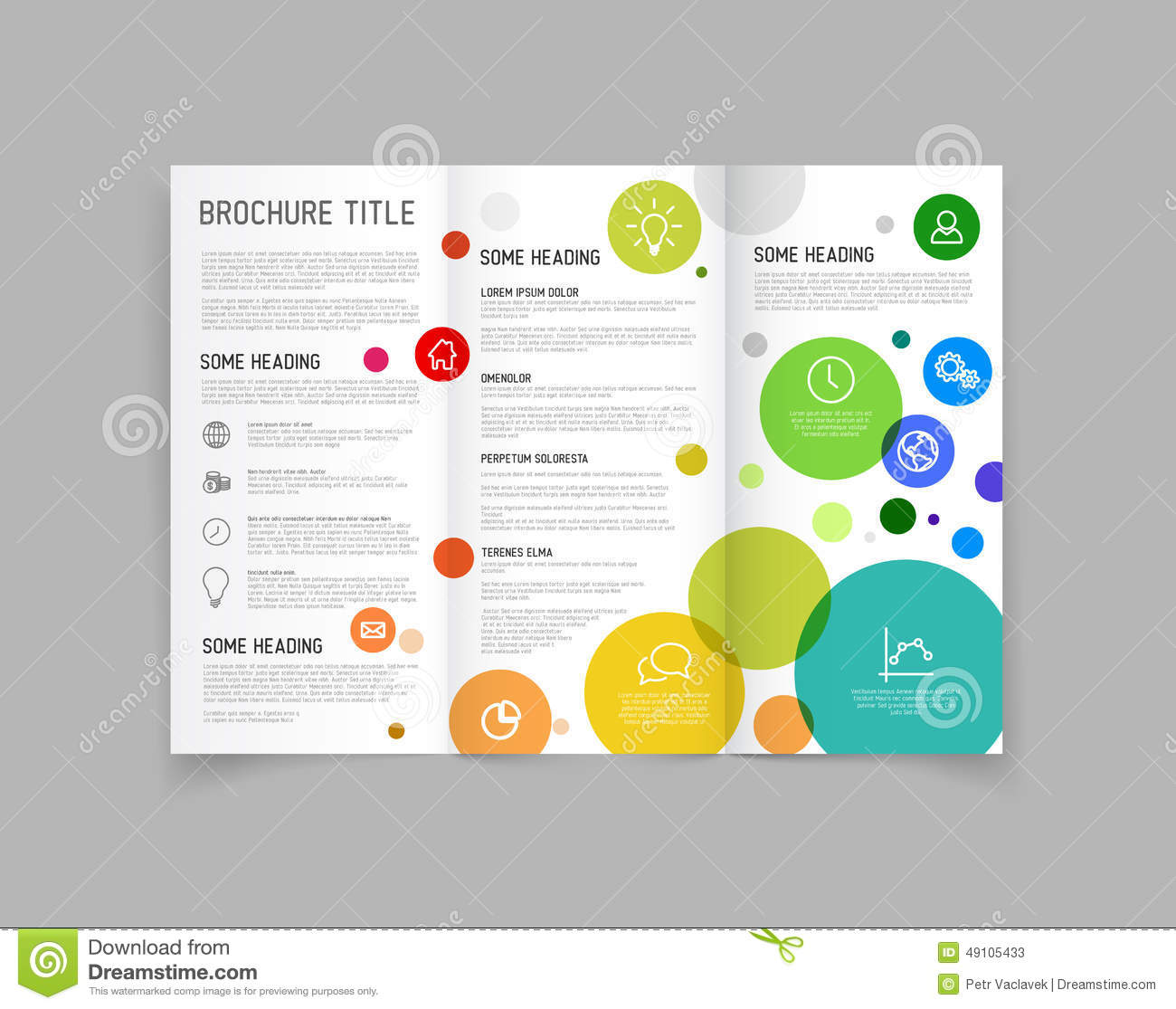 Modern Vector Three Fold Brochure Design Template Stock