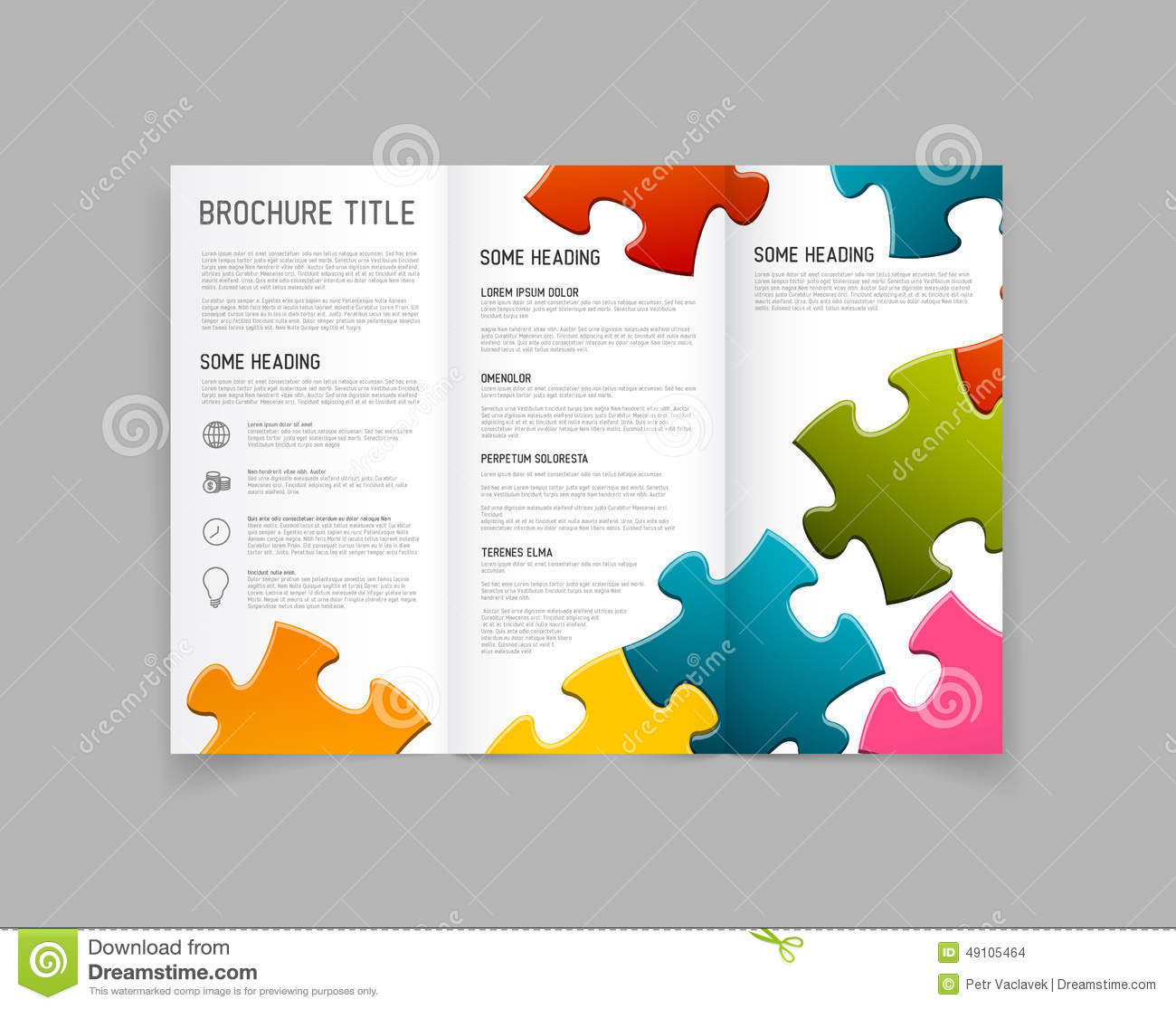 Modern vector three fold brochure design template stock for Modern brochure design templates