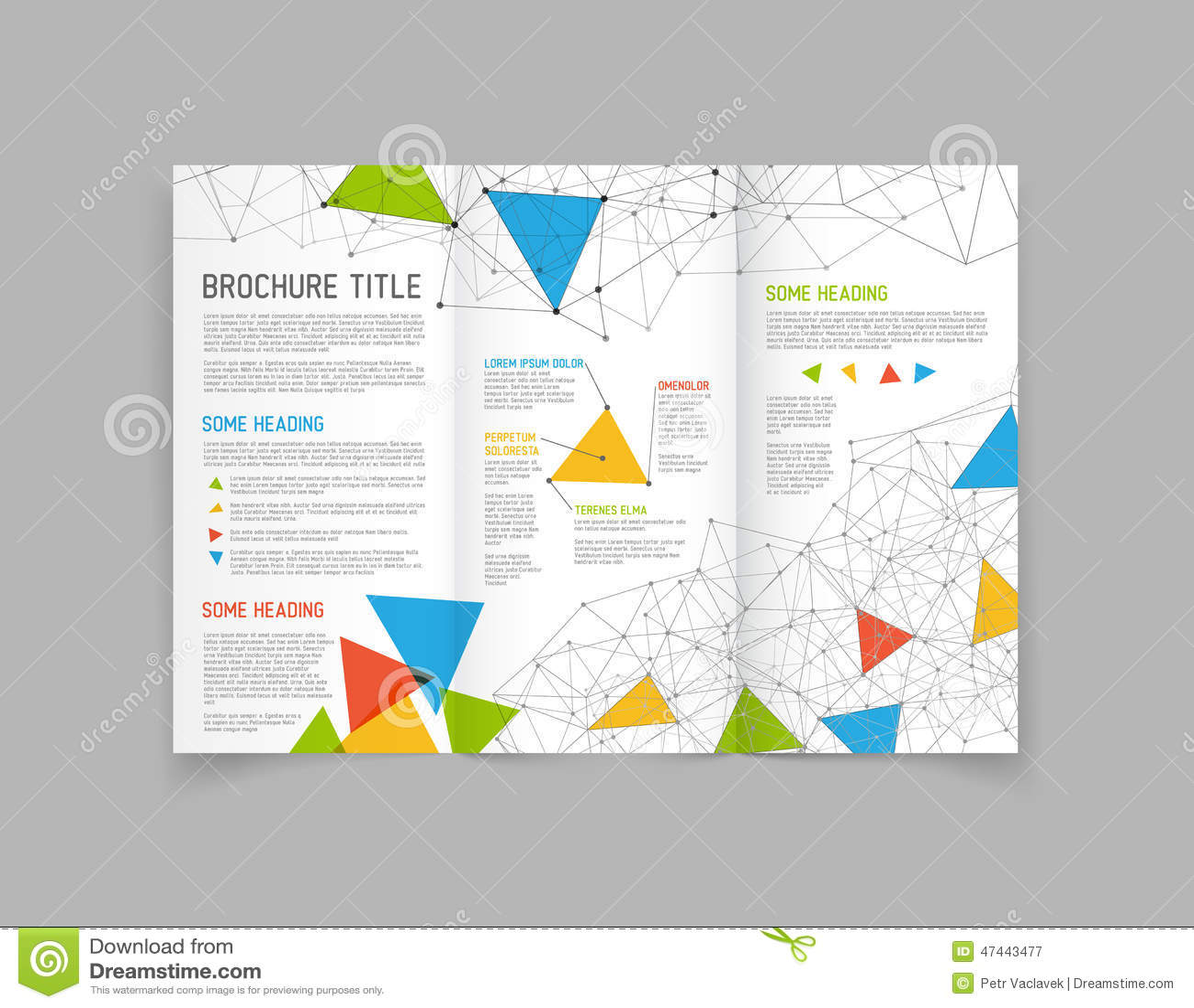 modern vector three fold brochure design template stock vector illustration 47443477. Black Bedroom Furniture Sets. Home Design Ideas