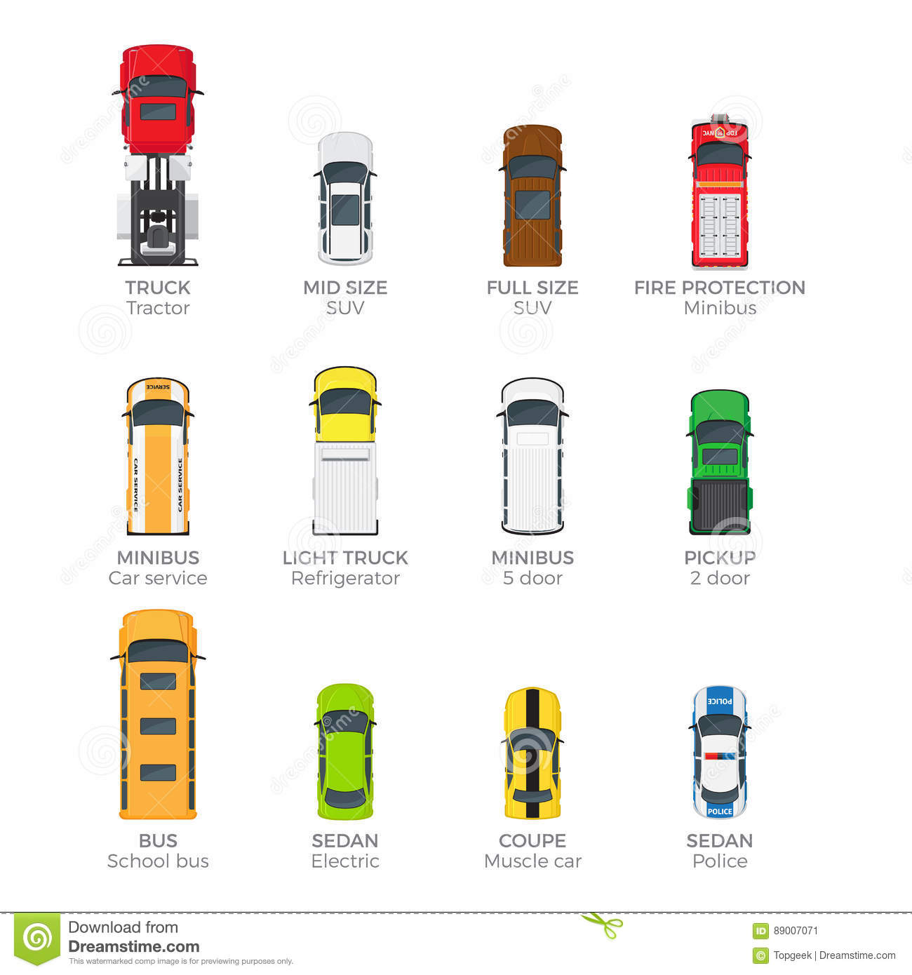 Modern Vehicle Transport Top View Vector Icons Set Stock