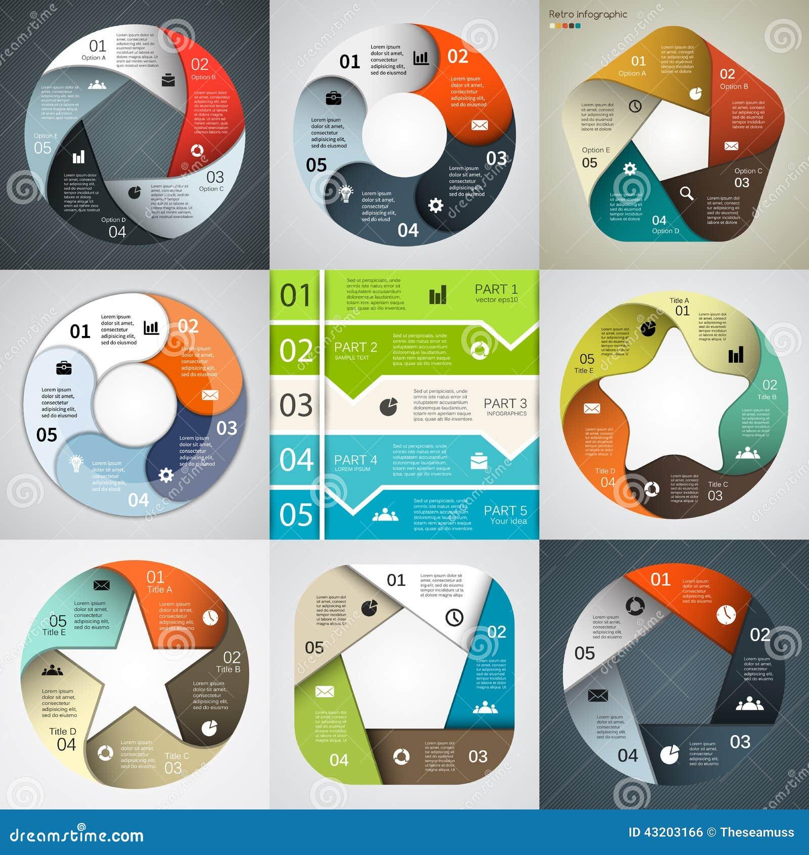 Download Modern Vektorinfographics För Affärsprojekt Vektor Illustrationer - Illustration av marknadsföring, pentagon: 43203166