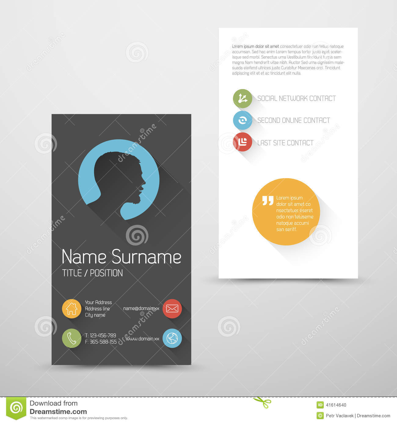 Modern Vertical Business Card Template With Flat User Interface ...