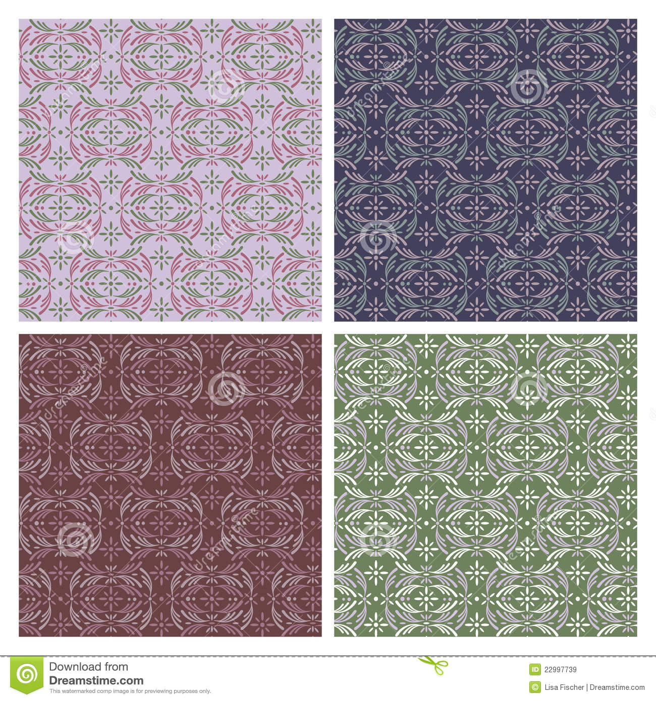 Modern Victorian Pattern in Cool Colors