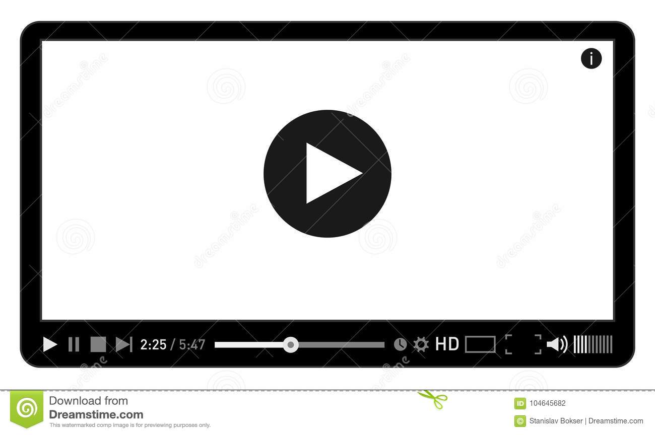 Modern Video Player Design Template For Web And Mobile Apps Flat