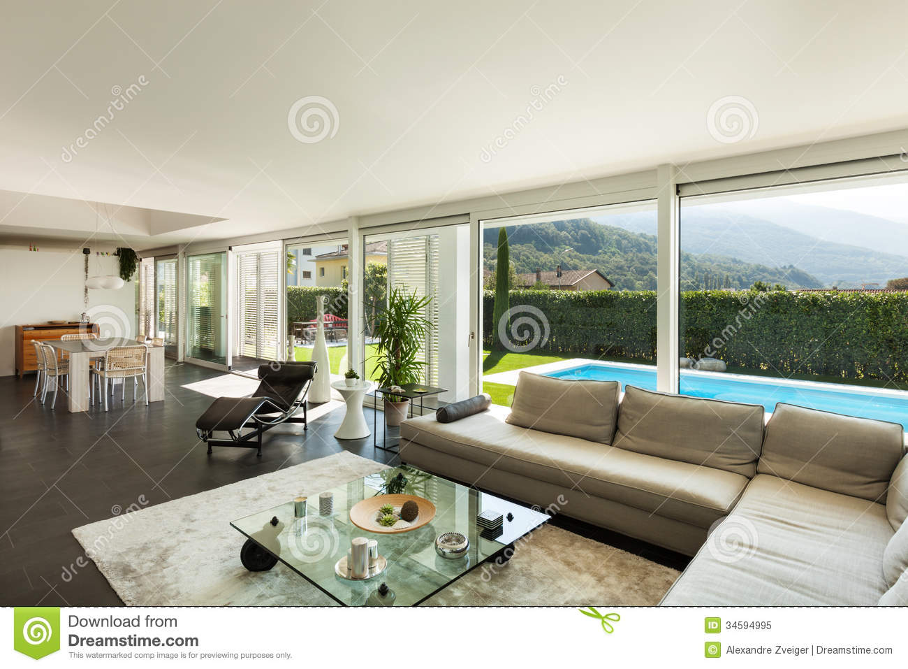 Modern villa beautiful interiors stock image image of for Villa interior design living room