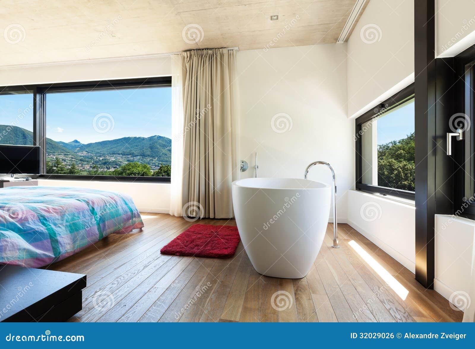 Modern villa interior bedroom stock image for Modern villa interior