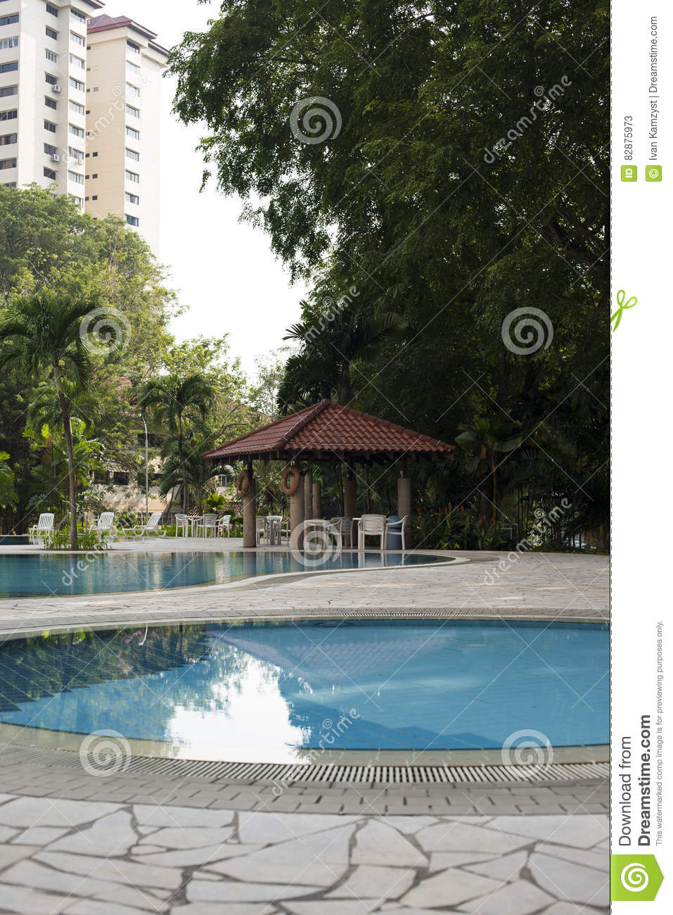 Modern villa outdoor with swimming pool and gazebo stock for Garden treasures pool clock