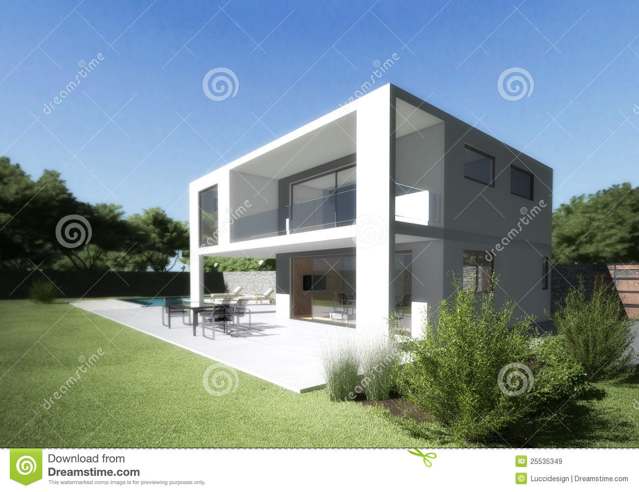 Modern villa with terrace and garden stock image image for Style de villa moderne