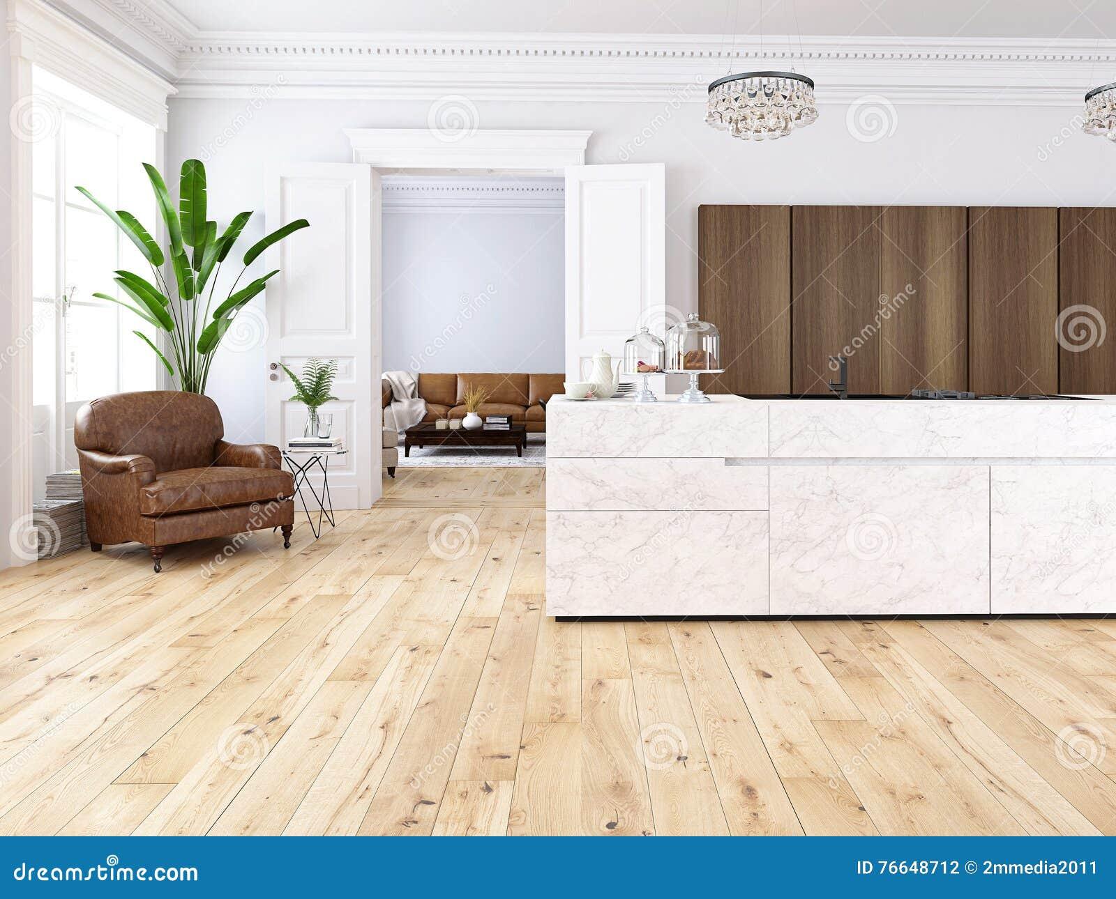 Modern vind med ett kök och en vardagsrum framförande 3d stock ...