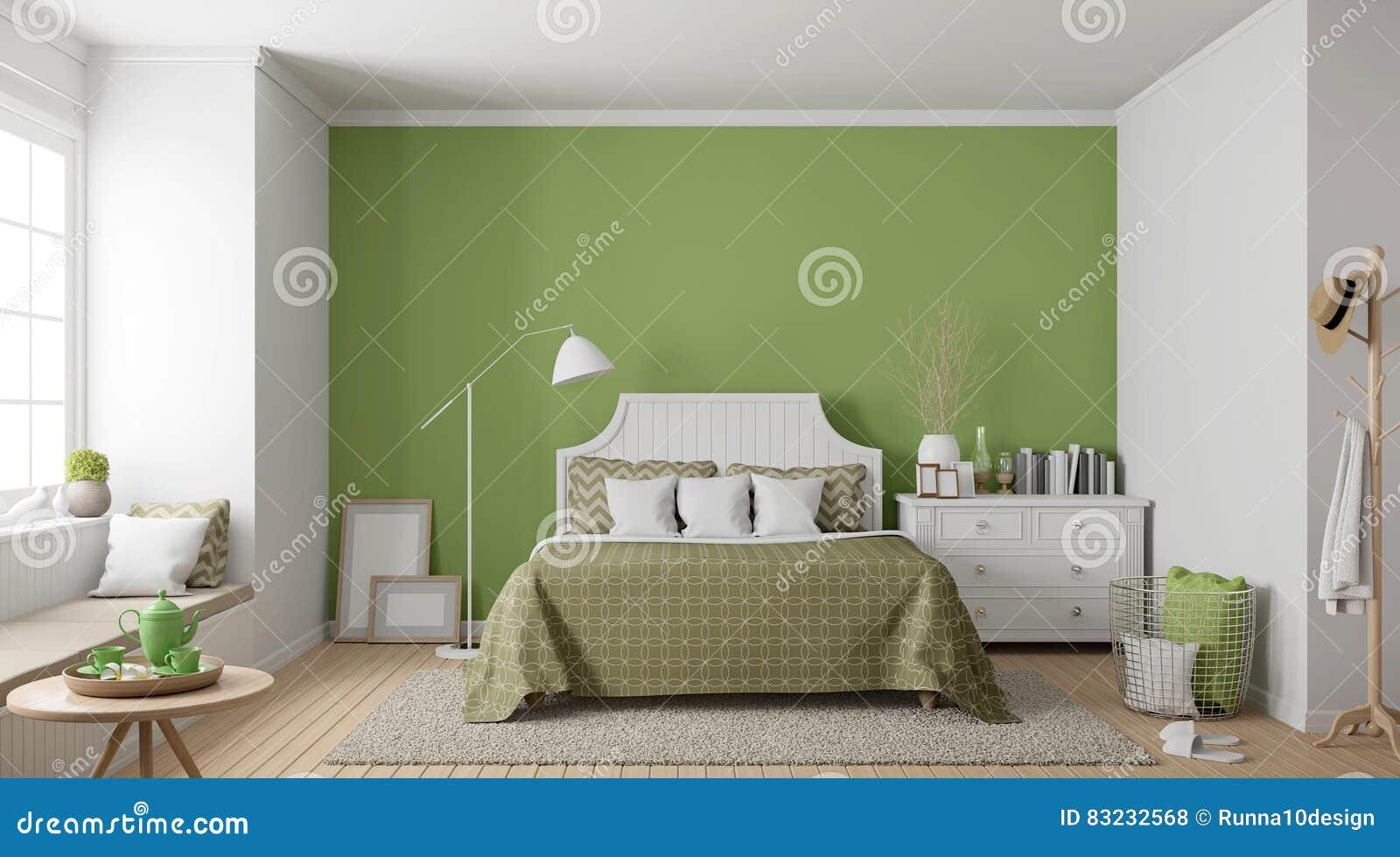 Modern Vintage Bedroom 3d Rendering Image Stock Illustration ...