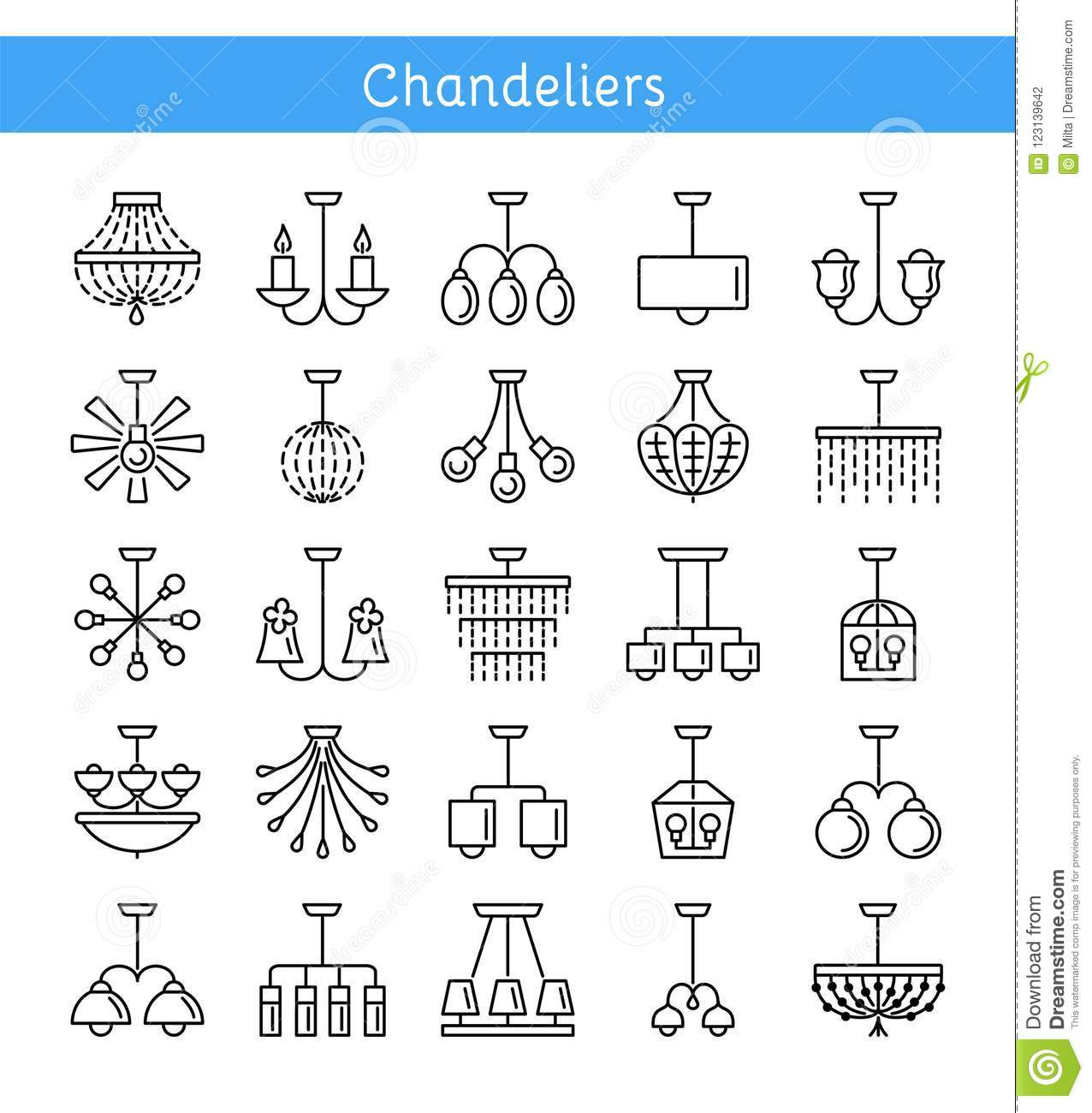 Ceiling Lamps & Lights. Different Types Of Chandeliers. Set Of H ...