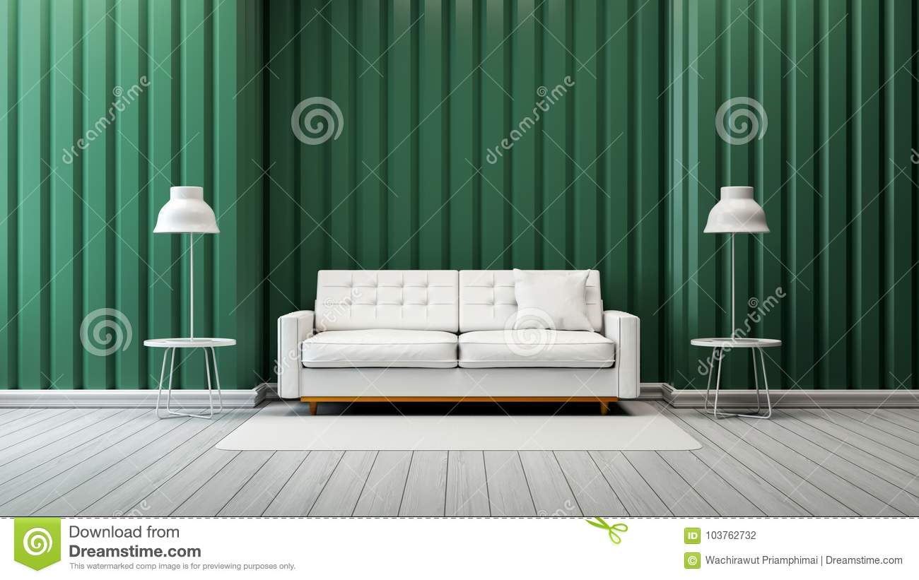 Modern Vintage Living Room Interior Design,white Sofa And Lamp With ...