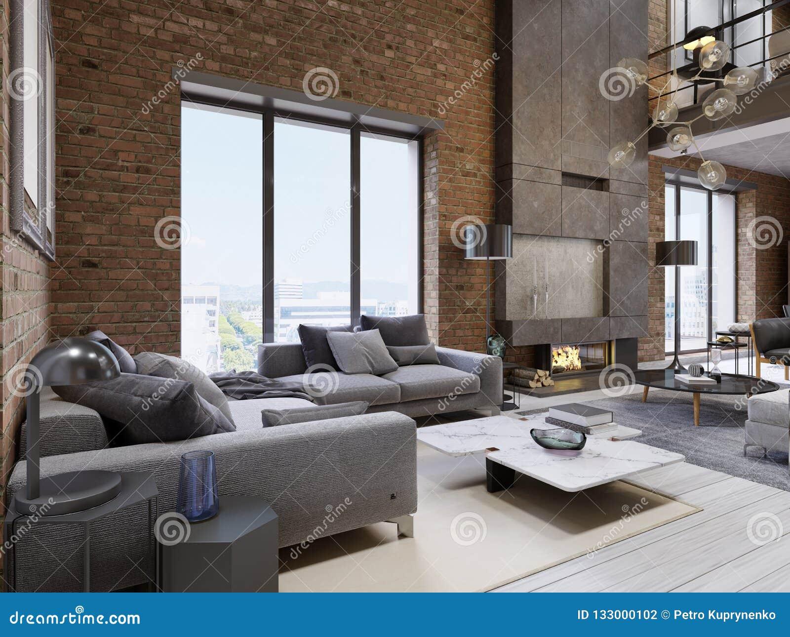 Modern Vintage Loft Apartment Living Room Stock Illustration ...