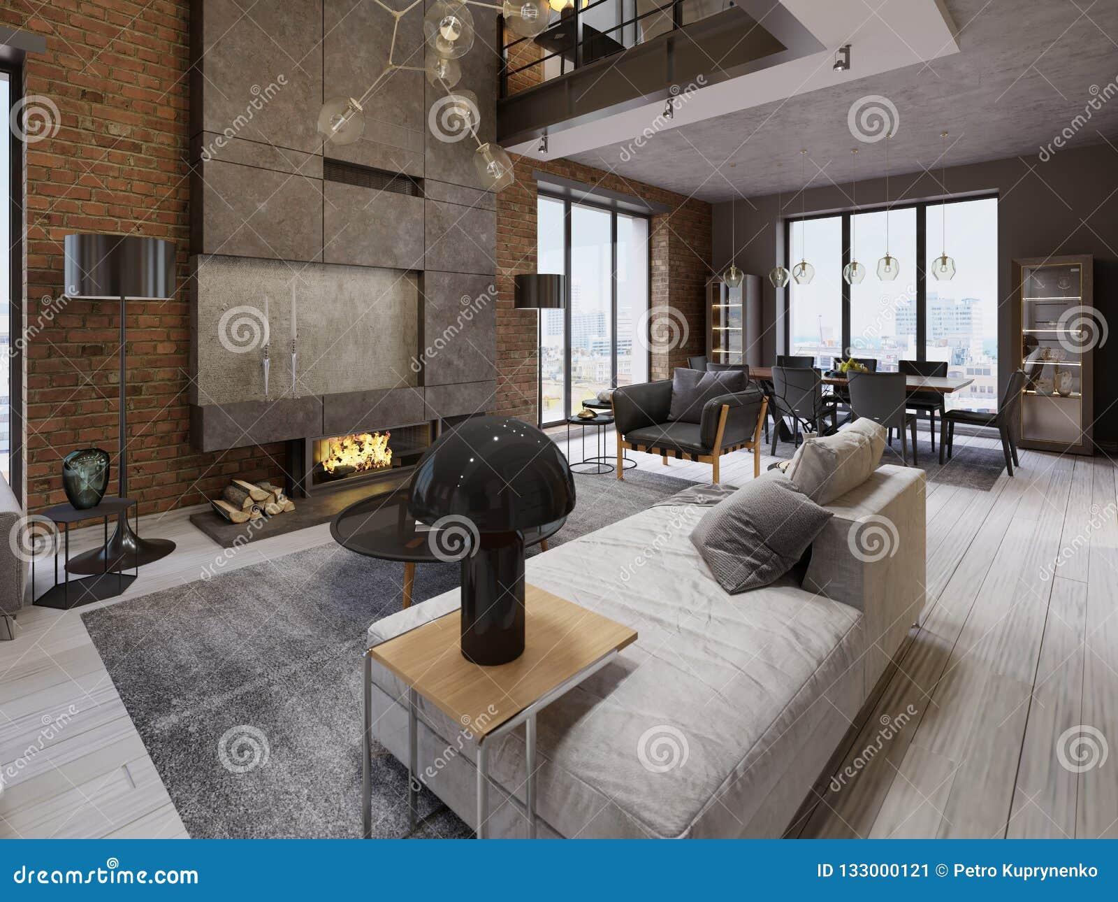 Pleasing Modern Vintage Loft Apartment Living Room Stock Illustration Home Interior And Landscaping Oversignezvosmurscom