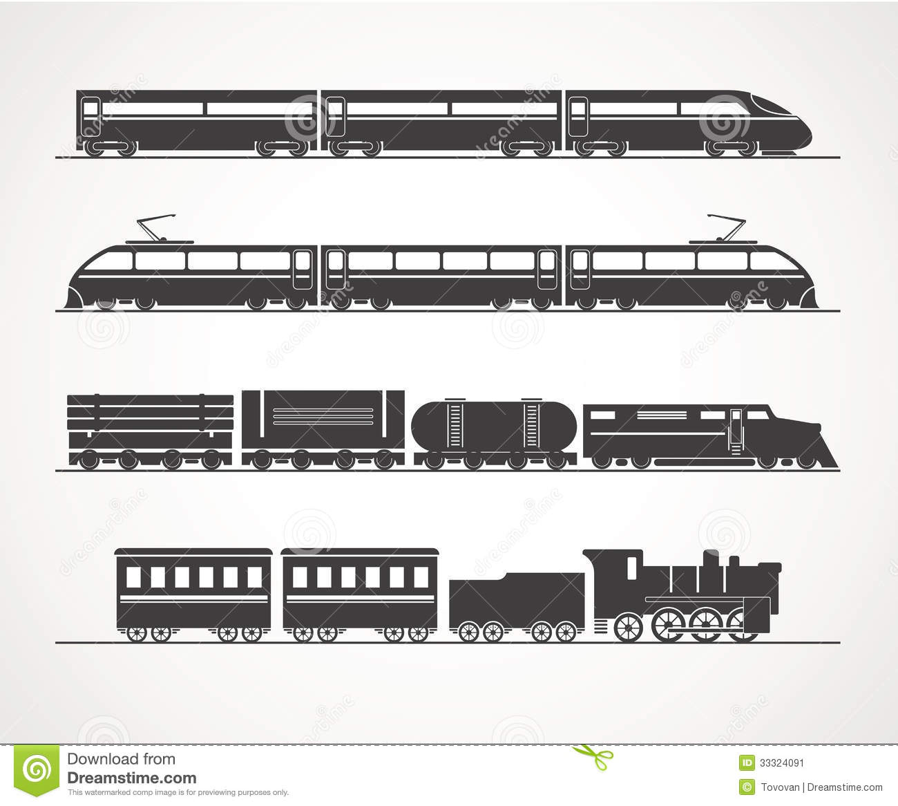 Modern and vintage train silhouettes