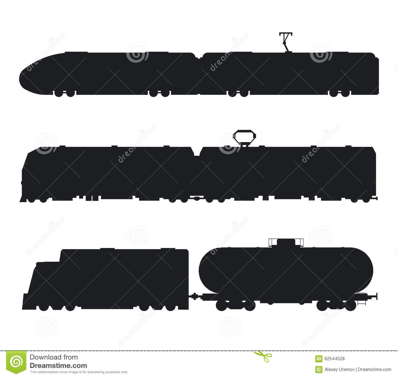 Modern, Vintage Trains Vector Black And White Stock Vector ...