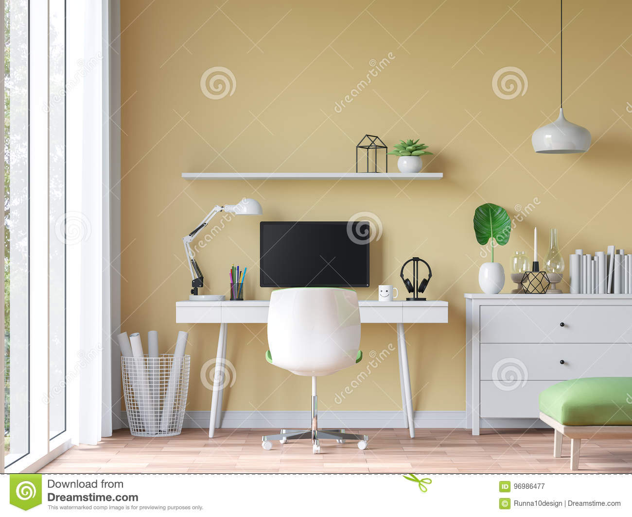 Modern Vintage Working Room With Yellow Wall 3d Rendering Image ...