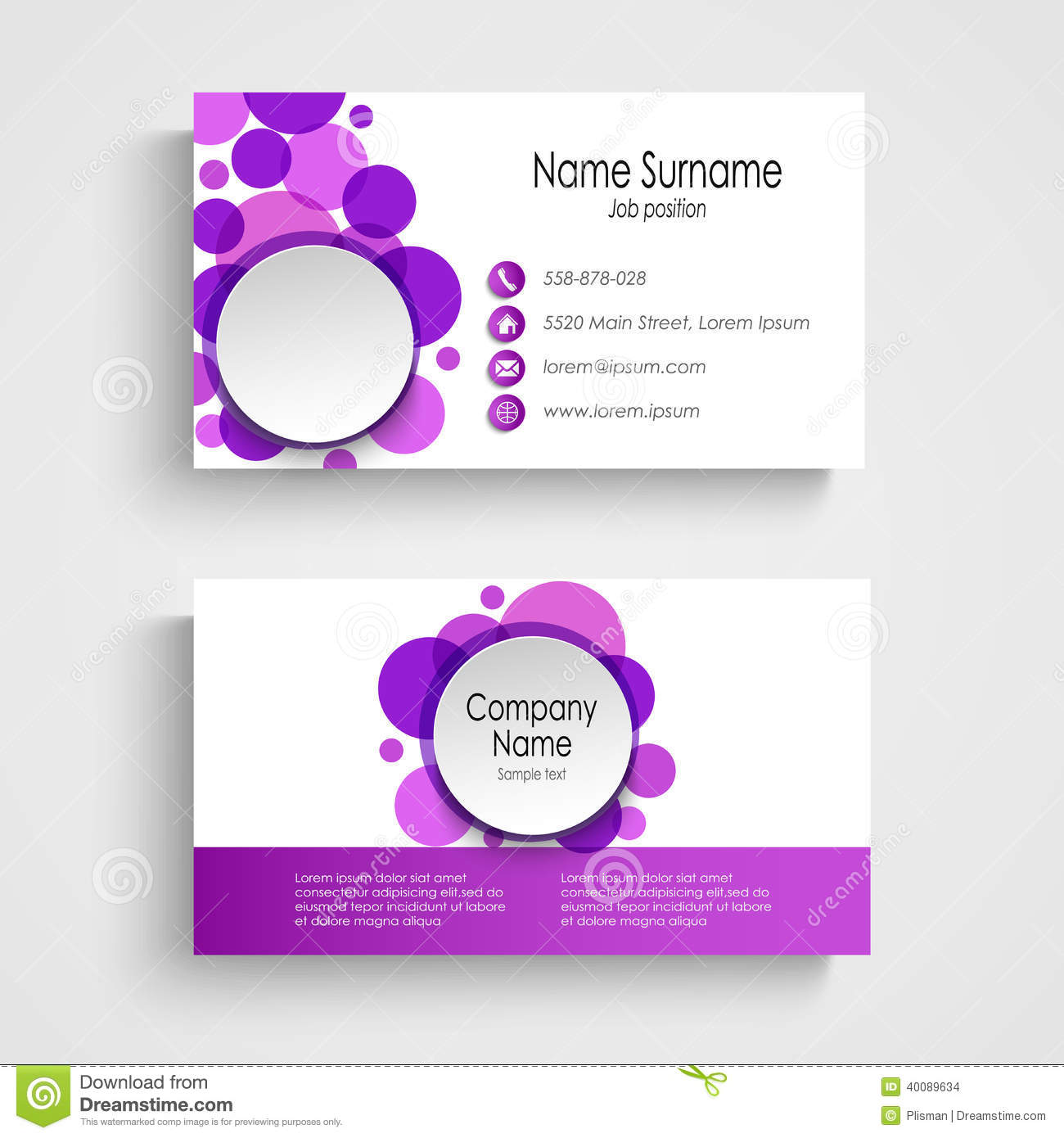 Modern violet round business card template stock vector for Eps business card template