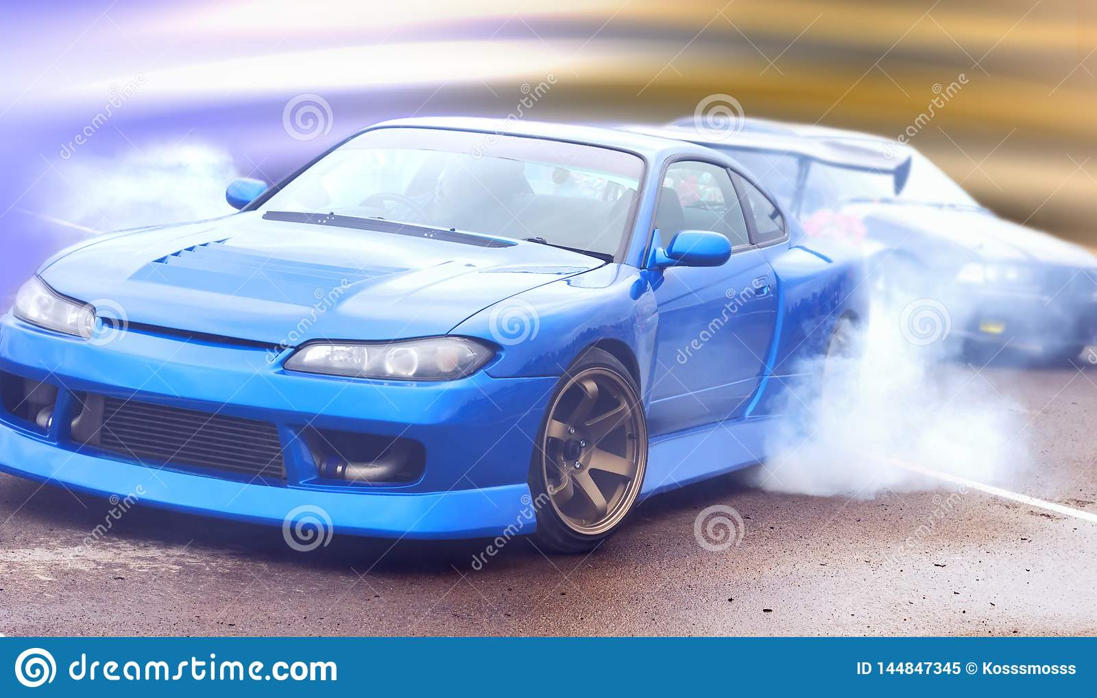 Modern vision of the photo drift racing car with the imposition of a unique effect.