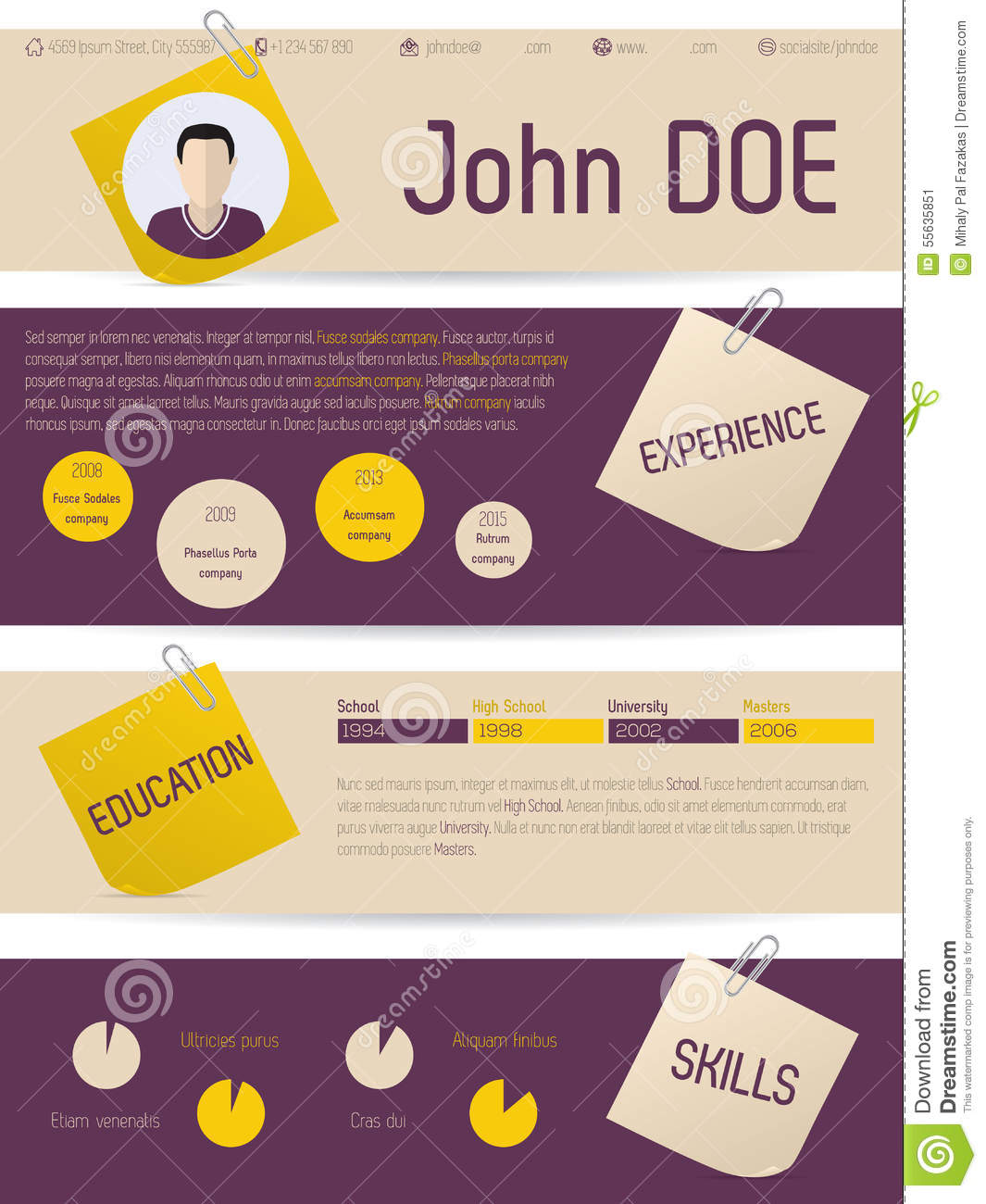 modern vitae resume with tags and paper clips stock vector image