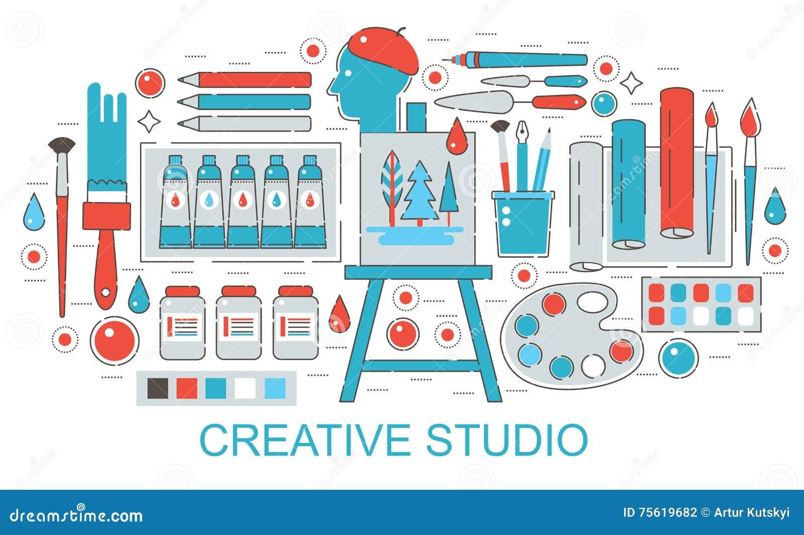 Modern Vlak dun Creatief Lijnontwerp of het concept van de het Webstudio van de schilderskunst