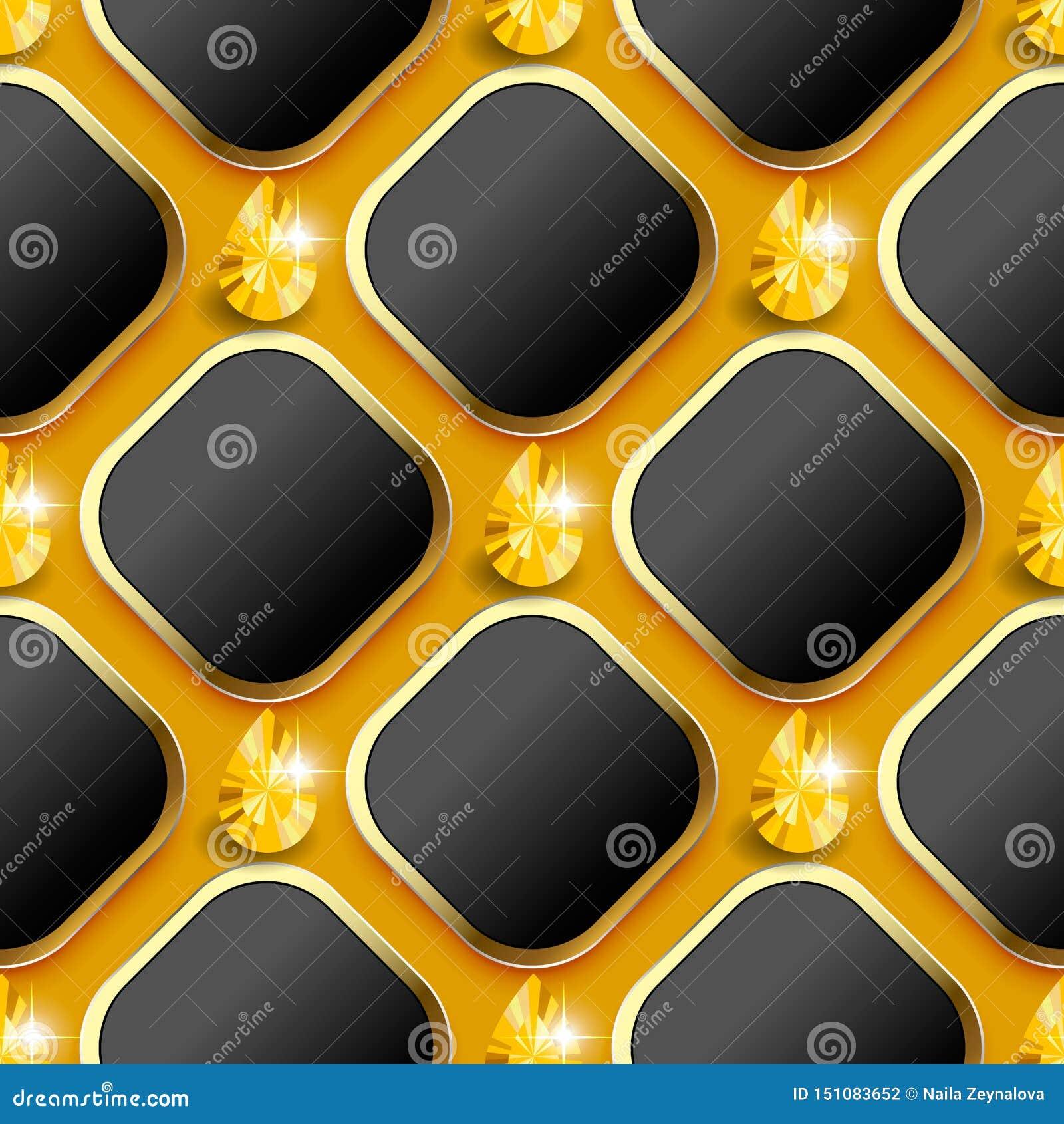 Modern wafel 3d vector naadloos patroon Geometrische sierjuwelenachtergrond 3d ruit en gele glanzende diamanten met goud