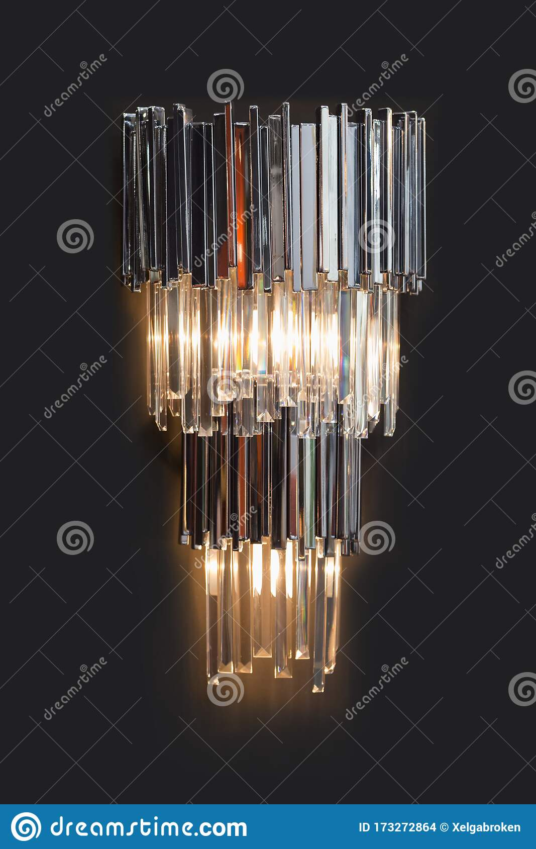 Modern Wall Chandelier Design Illuminated Vintage Wall Lamp With Crystal Lamp Shade Stock Photo Image Of Beautiful Decoration 173272864