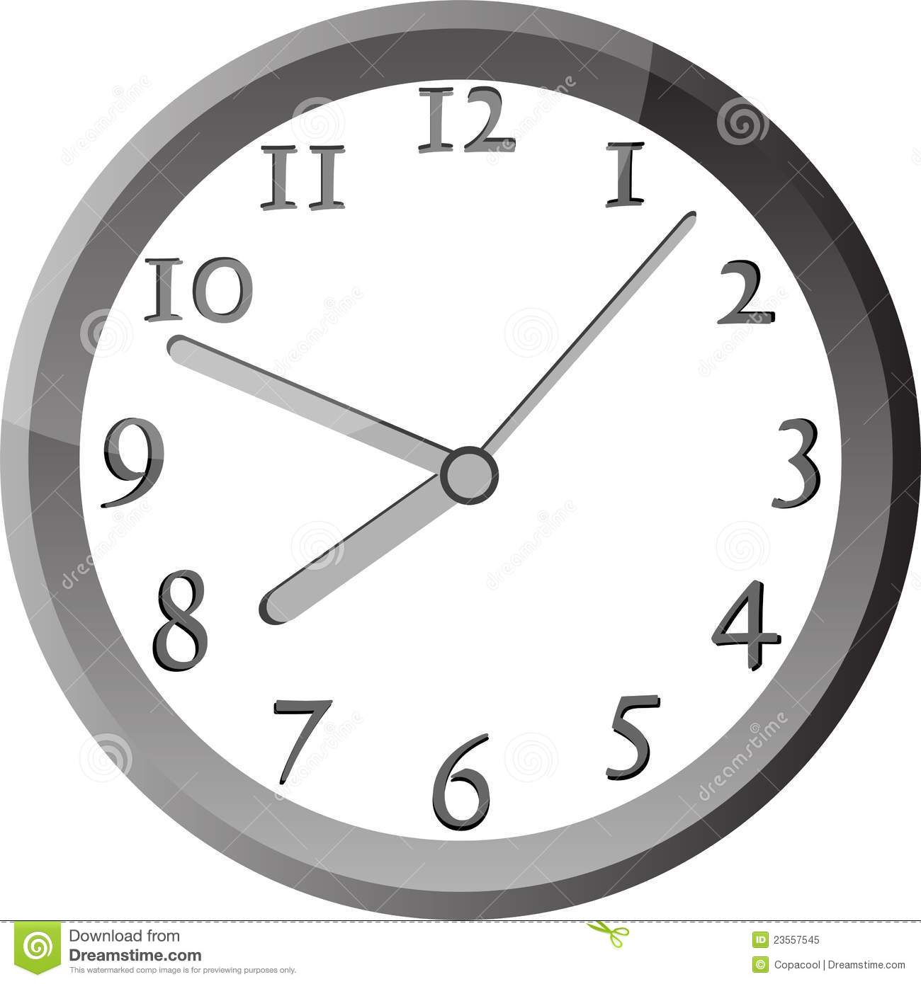 Modern Wall Clock In Silver Color Frame Royalty Free Stock