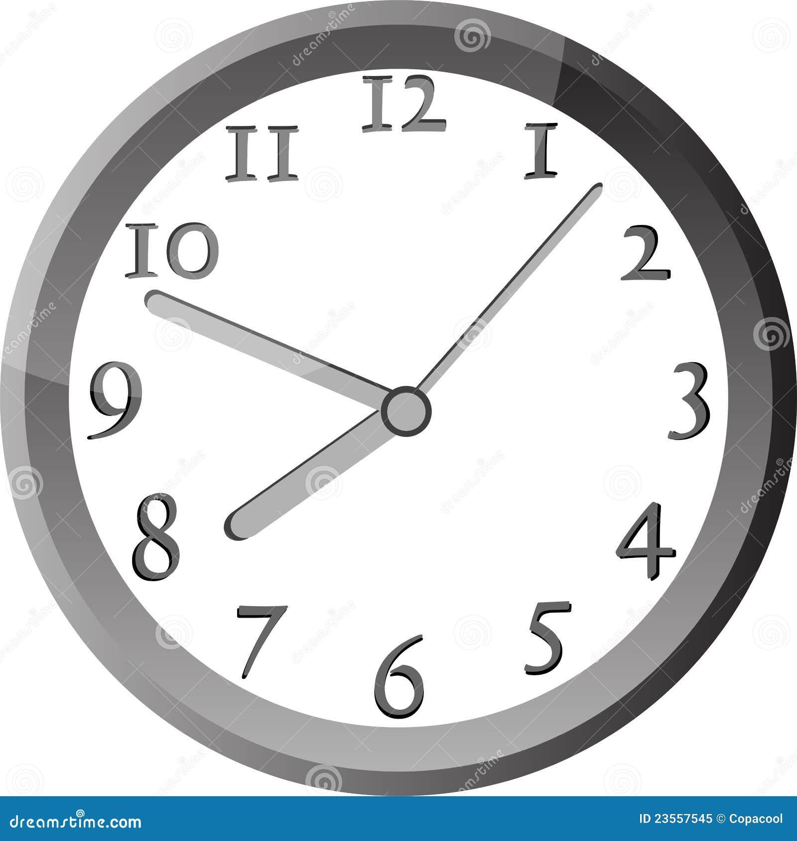 Modern wall clock in silver color frame stock vector - Reloj de pared moderno ...