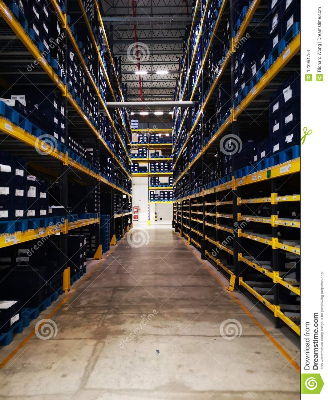 6907739f5 Modern Warehouse Within Plastic Boxes And The Shelf Stocking Raw ...