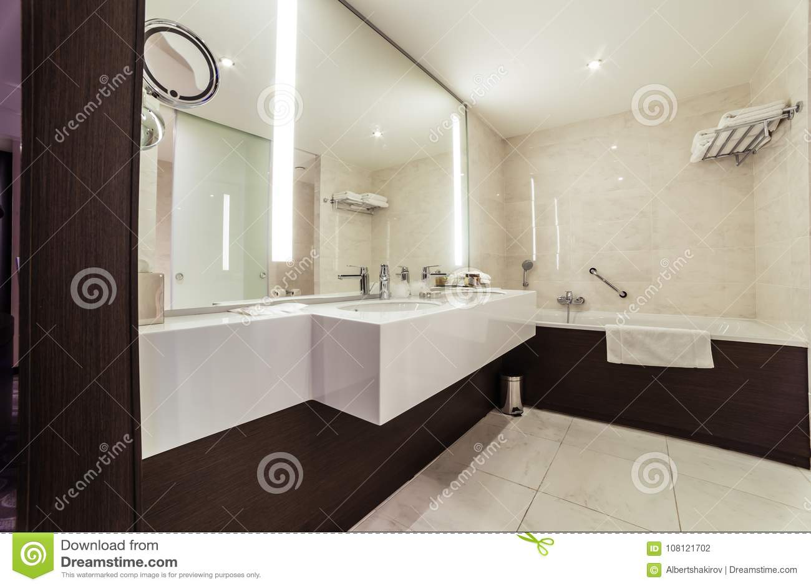 Designer Bathroom With Shower Tiling Stock Photo - Image of bathroom ...