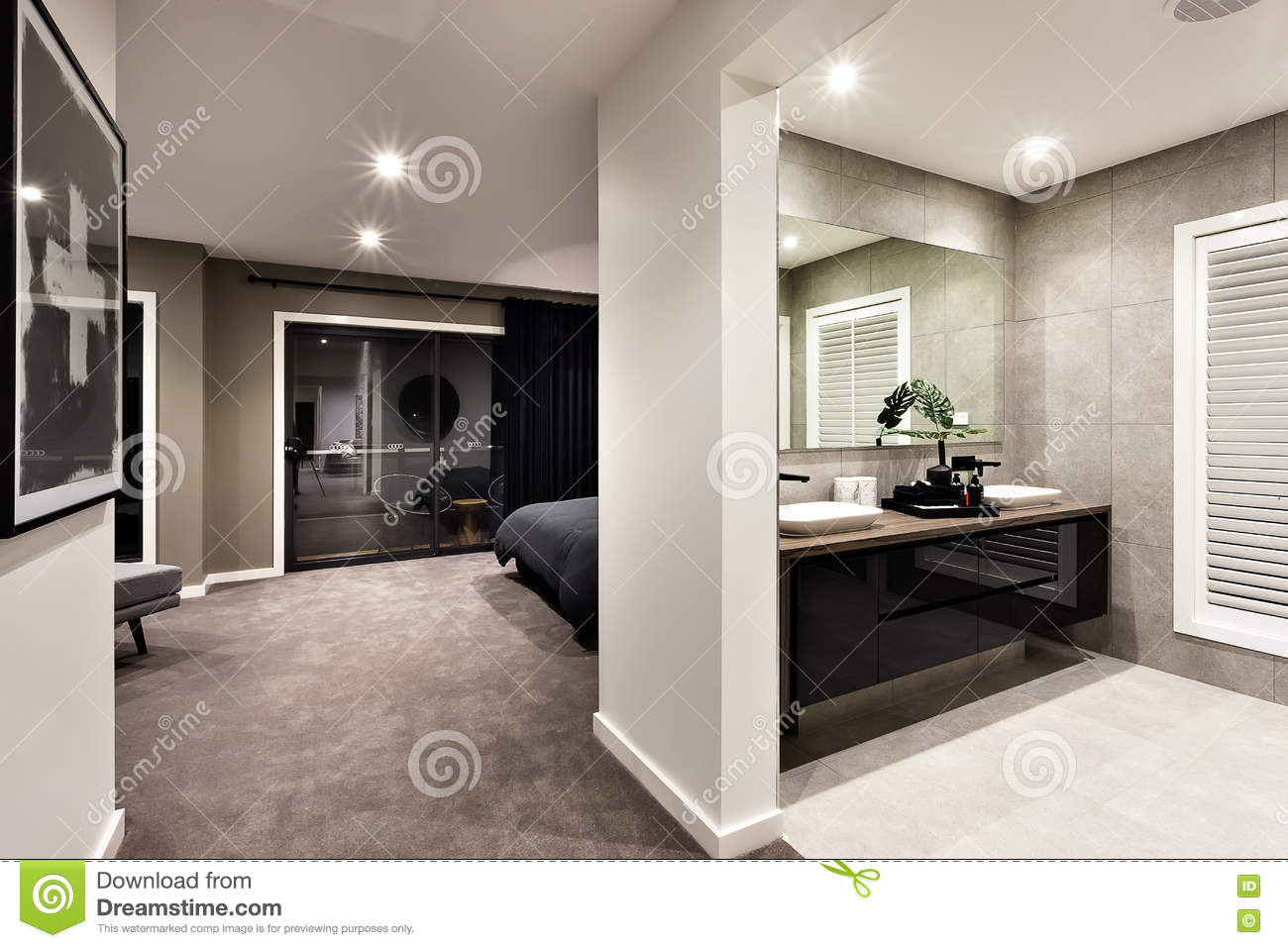Modern washroom and hallway to a another room