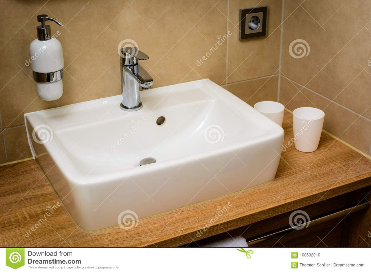 Modern Washroom with sink stock photo. Image of fixtures - 108692010