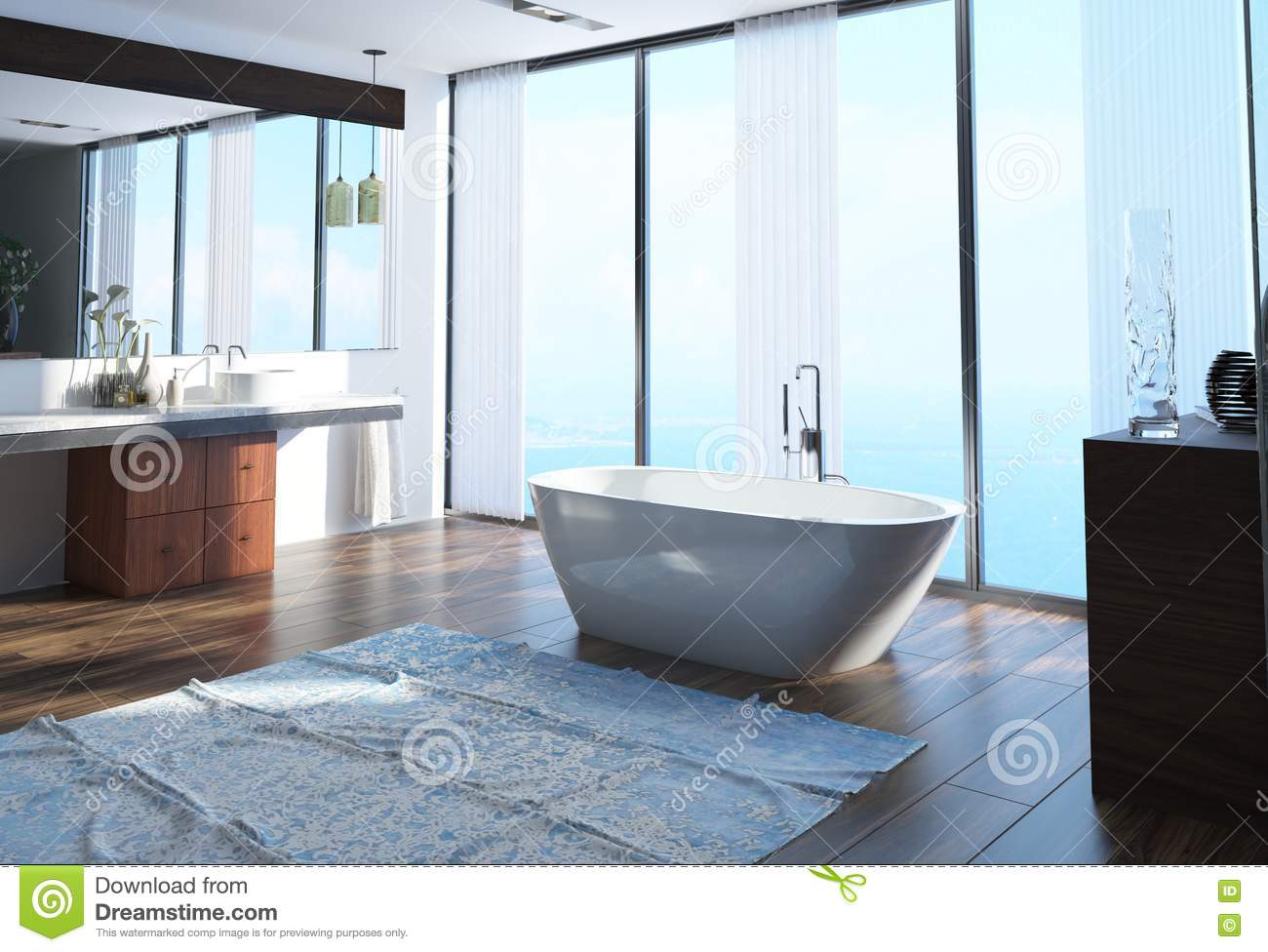 Modern waterfront bathroom interior decor with a freestanding boat shaped bathtub on a wooden parquet floor in front of floor to ceiling windows overlooking