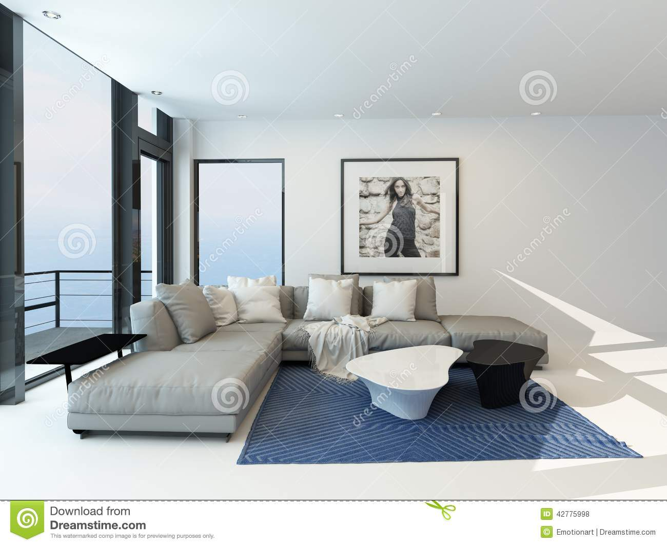 Modern waterfront living room interior stock illustration for Home design interieur