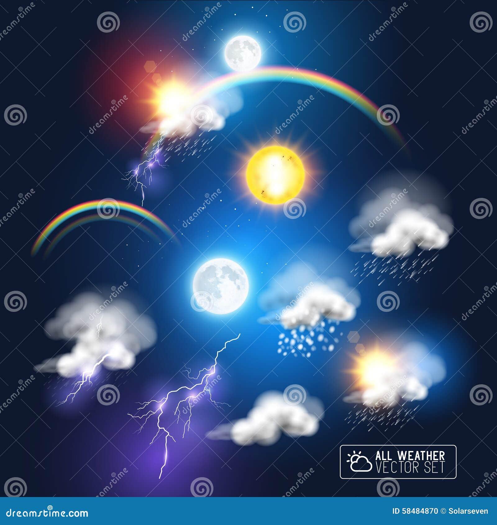Modern Weather Symbols Stock Vector - Image: 58484870
