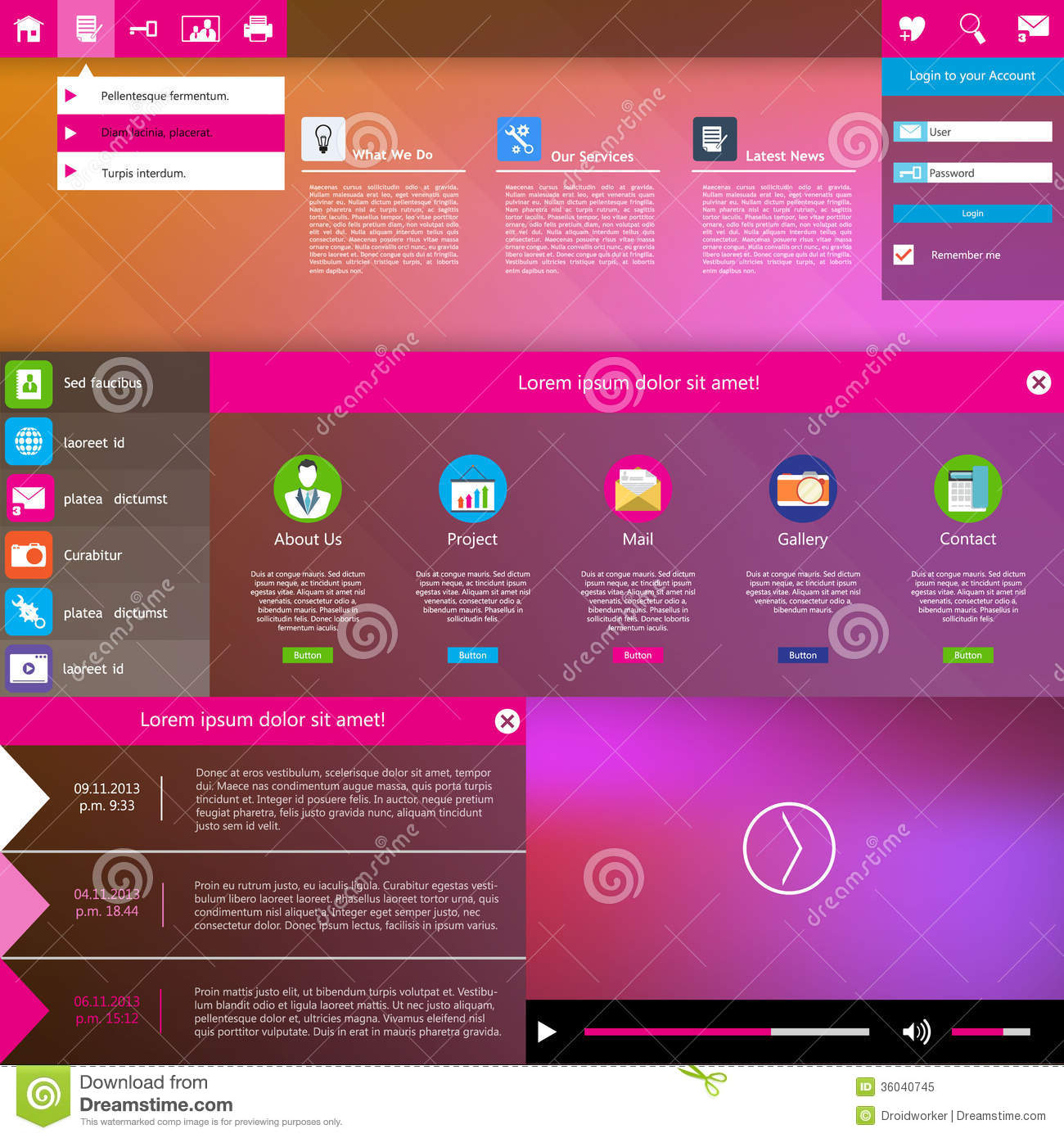 Modern Website Design Template Metro Style Royalty Free