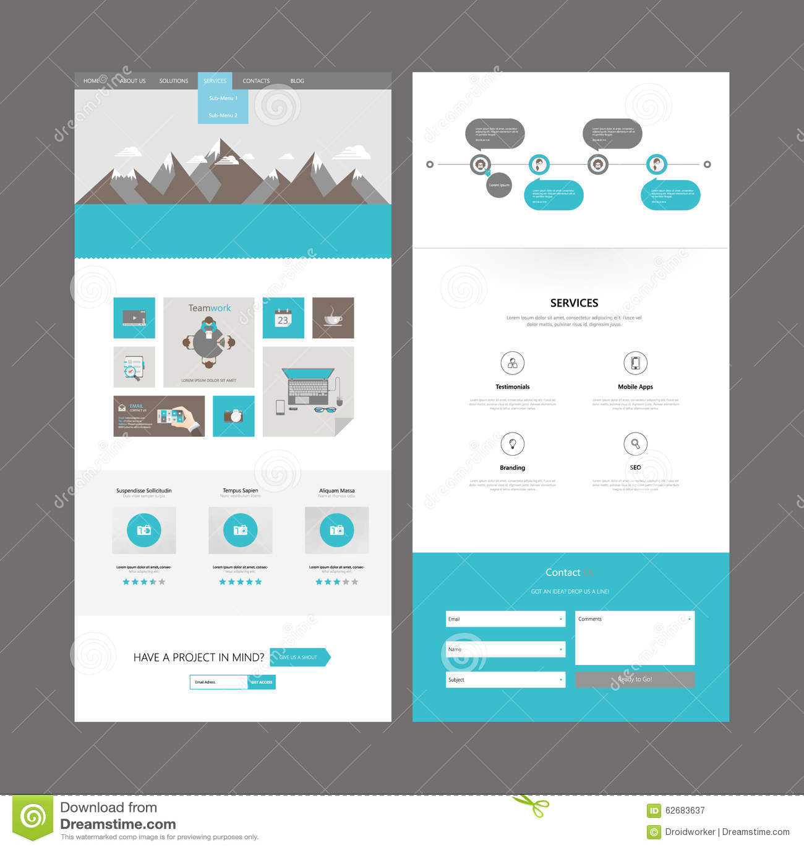 Modern Website Template Design Stock Illustration
