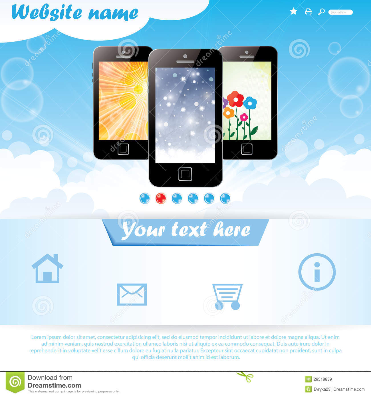 Modern Website Template For Mobile Company Stock Vector