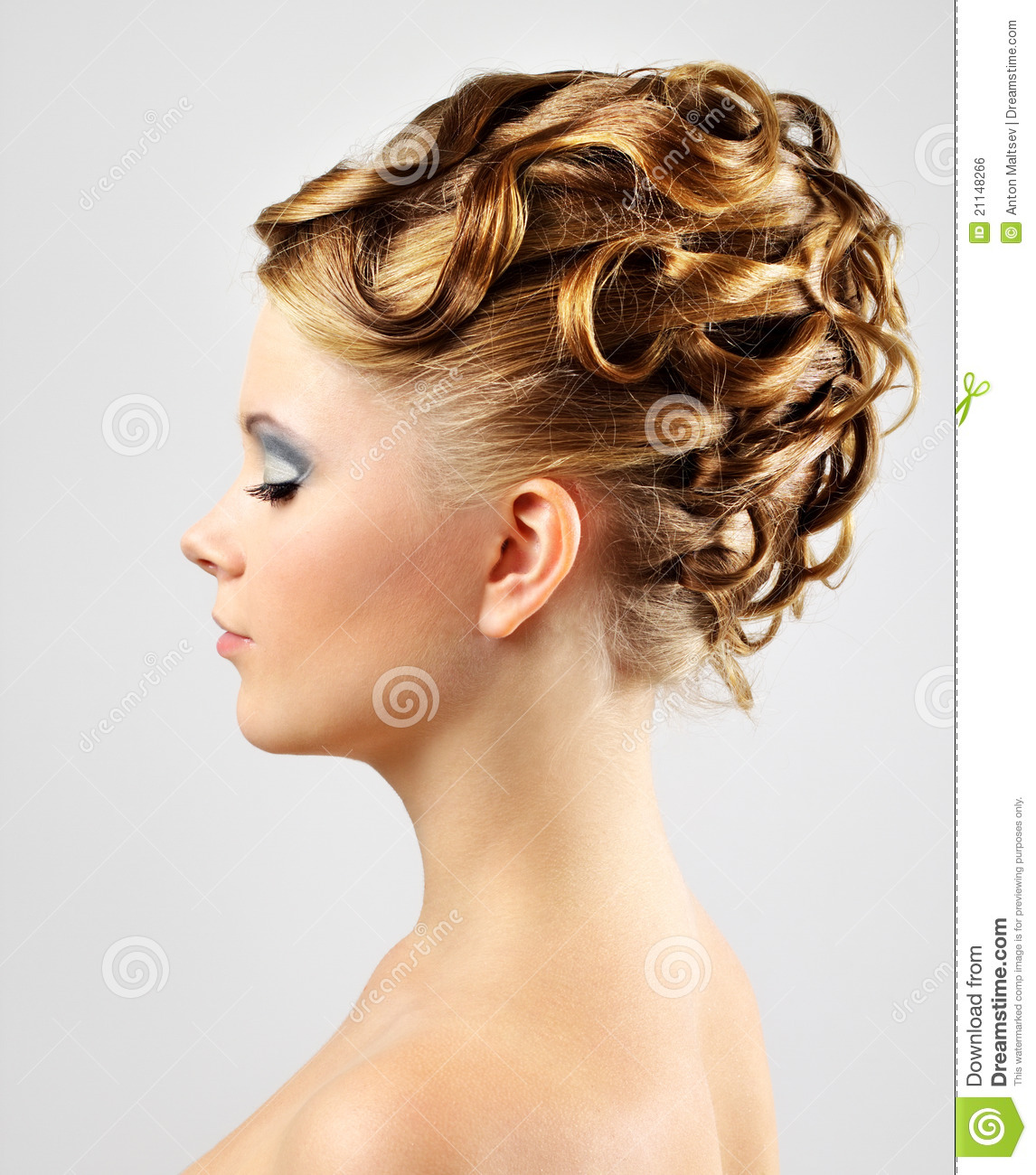 Modern Wedding Hairstyles: Modern Wedding Hairstyle. On Gray Royalty Free Stock Image