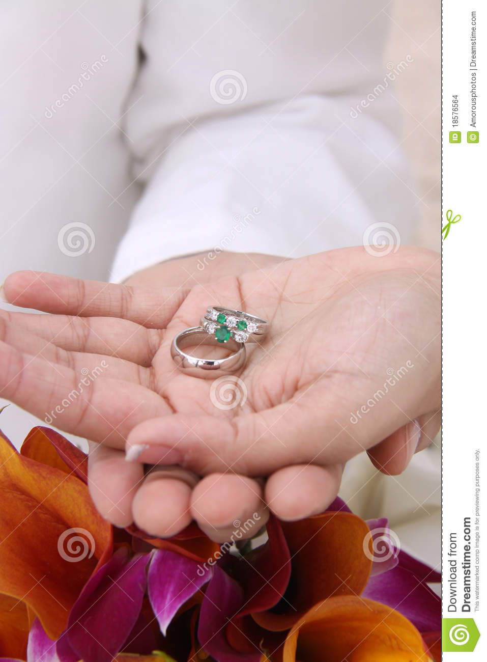 Modern Wedding Hands And Rings In Palm -Beach Stock Photo - Image of ...
