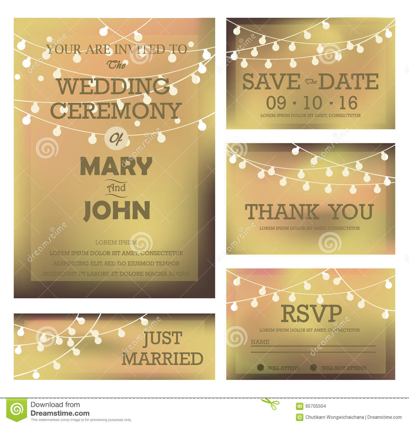 Gold wedding invitation, RSVP, and Thank you card templates,light and ...