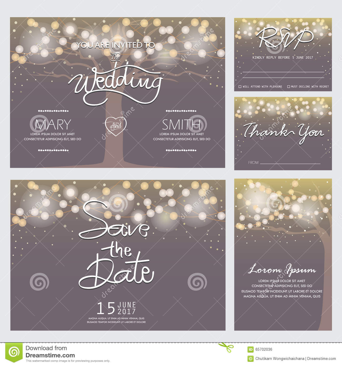 Modern Wedding Invitation Card Stock Vector