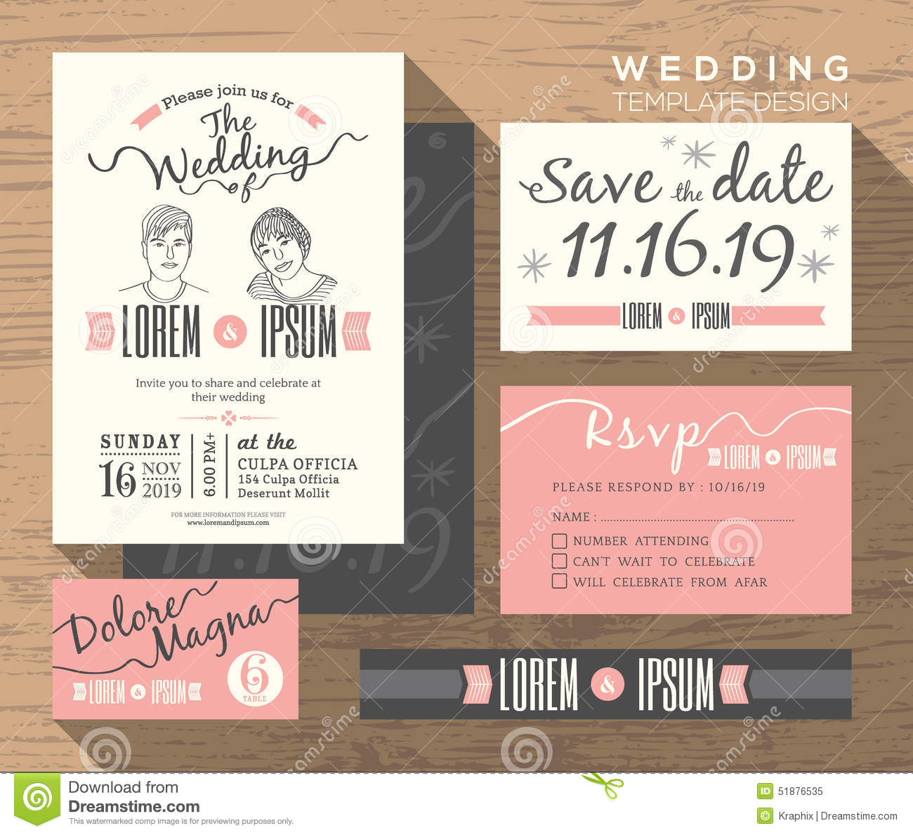 Modern Wedding Invitation Set Design Template Stock Vector - Image ...