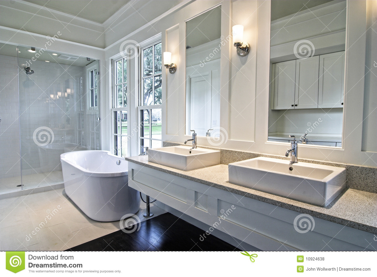 Modern white bathroom royalty free stock photos image - Salle d eau grise ...