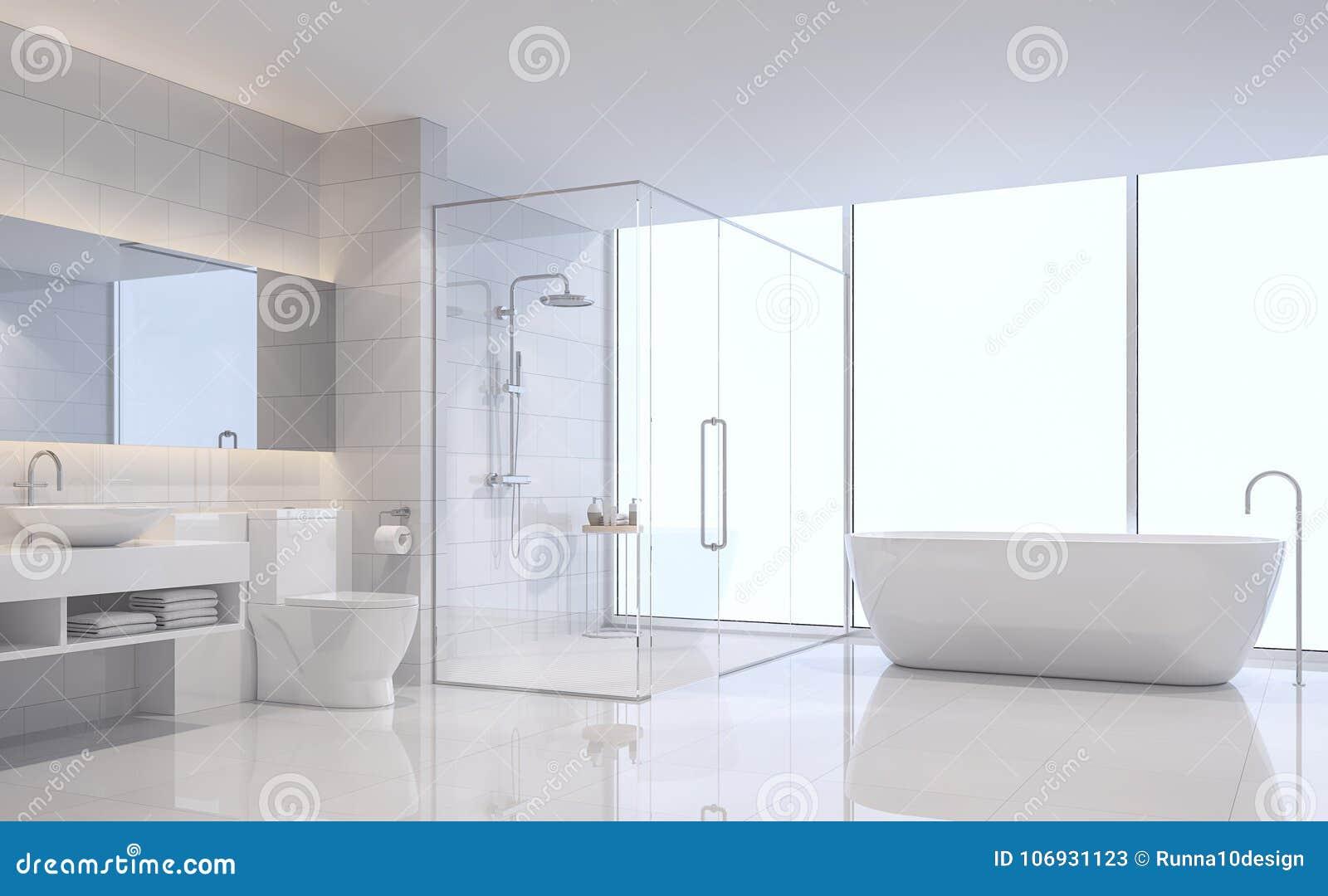 Modern White Bathroom 3d Rendering Image. Stock Illustration ...