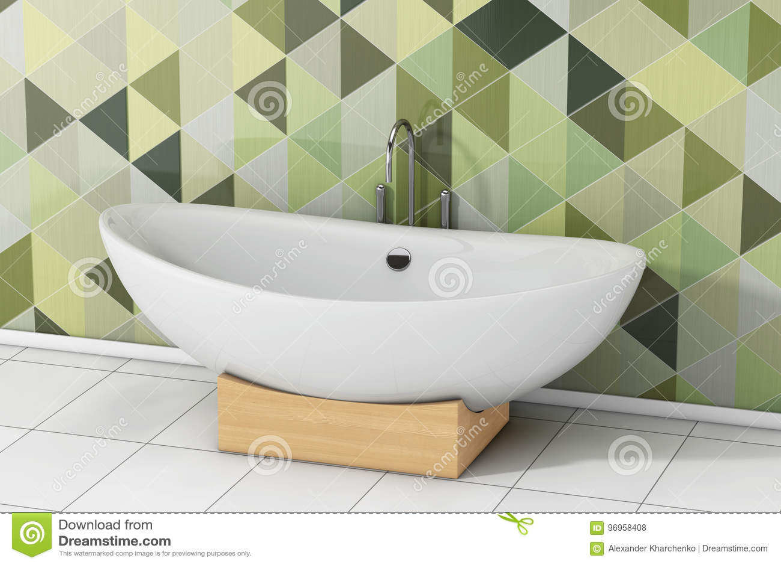Modern White Bathtube In Front Of Olive Green Geometric Tiles In ...