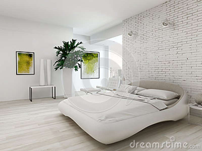 Modern White Bedroom With Bed Against Brick Wall Stock