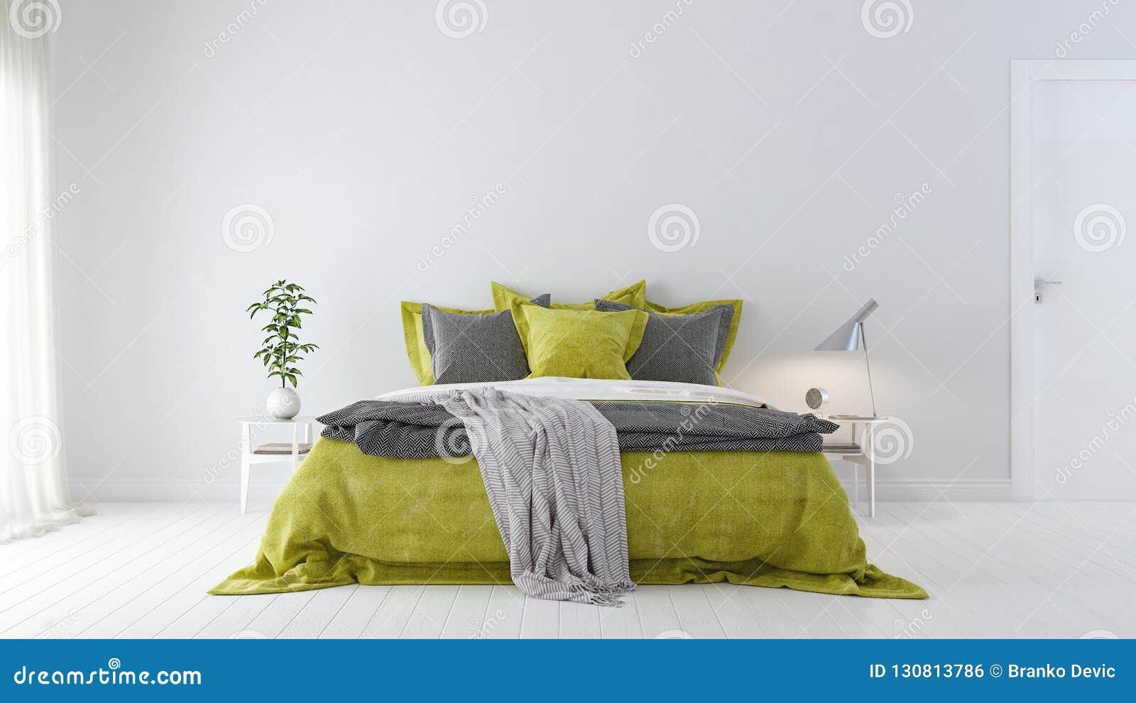 Modern White Bedroom Interior Design With Green Bed Sheets 3d Render Stock Illustration Illustration Of Elegance Interior 130813786