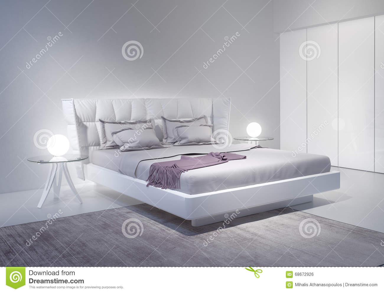 Modern white bedroom interior with violet accents